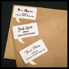 Personalised Speech Bubble Return Address Labels Stickers | White | AD100