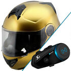 Hawk H-70 Solid Gold Modular Motorcycle Helmet with Black X1 Bluetooth Headset