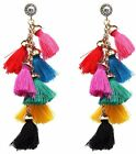 BOHO FESTIVAL TASSEL FRINGE COTTON LAYERED DANGLE DROP EARRINGS - UK SELLER