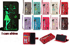 Fluorescent Night Luminous Glow Embossed PU Leather Strap Card Slot Case Cover