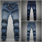 Fashion Korean Fall Mens Mid Rise Feet Stretch Jeans Casual Sweat Pants Trousers
