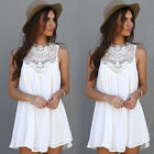 New Summer Women Casual Sleeveless White Short Mini Dress Cocktail Party Evening
