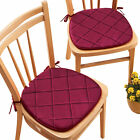 Quilted Memory Foam Cushioned Chair Pads with Ties - Set of 2