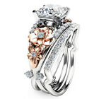 New Two Tone White Sapphire 925 Silver Flower Promise Ring Set Women Jewelry