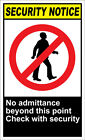 No Admittance Beyond This Point Check Security OSHA / ANSI LABEL DECAL STICKER $12.99 USD