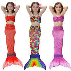3pcs set Scale Kids Girls Mermaid Tail Swimwear Swimsuit Costumes Bikini set