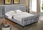 Luxurious Padded Crushed Velvet Sleigh Bed 5FT King Size With Mattress Options