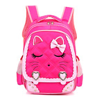Efree Cute Cat Face Bow Diamond Bling Waterproof Pink School Backpack Girls