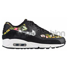 New Nike Air Max 90 Black White Floral Swarovski Crystal Bling Accent Women