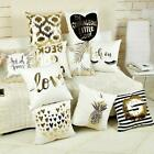 """18"""" Bronzing Gold Letters & Love Throw Pillow Case Sofa Cushion Cover Home Decor"""