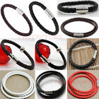 Men New Leather Stainless Steel Magnetic Clasp Braided Wristband Bracelet Bangle