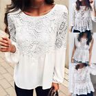 Fashion Women Summer Loose Casual Chiffon Long Sleeve Lace T Shirt Tops Blouse