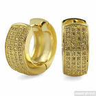 Canary Yellow 4 Row Micropave CZ Gold Hoop Earrings