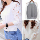 Fashion Womens jumper Long Sleeve Casual Blouse Loose lace Cotton Tops T-Shirt
