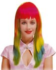 Long Neon Rainbow Wig Fringe Layered Fancy Dress Pride Multi Colour Synthetic