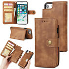 Leather 2in1 Removable Magnetic Holder Wallet Card Stand Case Cover For Phones