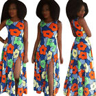 Sexy Women Traditional African Print Flower Bodycon Casual Party Maxi Long Dress