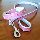Pink and White leather dog collar with Diamantes and Matching Lead Set