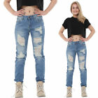 New Womens Ladies Light Blue Ripped Distressed Frayed Slim Faded Boyfriend Jeans