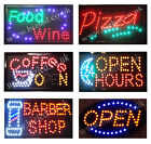 Open pizza coffee Open 24 Hours food wine barber Flashing led window Shop signs