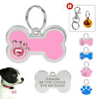 Rhinestone Bone Paw Cute Personalized Dog Tags Nameplate Engrave Free Bell Pink