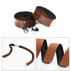 Hot 1 Pair Bike Bicycle PU leather Cycling Handlebar Tape Wrap Ribbon With Plugs
