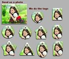 5 pack of Custom  full colour Plastic photo Tags with Split Ring -Standard