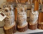WOODEN HAND CARVED BARN OWL BARKED LOG IN LARGE OR SMALL GARDEN GIFT HOME