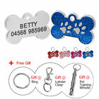Cute Bone Shape Dog Tag With Paw Print Pet Name Phone Free Engrave Gift Whistle