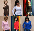 MANY COLOURS SIZES SIMPLE JERSEY LONG SLEEVE CLASSIC NURSING BREASTFEEDING TOP