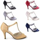 NEW LADIES MID HEEL T BAR  DIAMANTE CLASSY EVENING COURT SANDALS SIZES UK 3-8