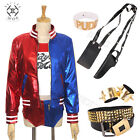 Suicide Squad Harley Quinn Cosplay Costume Halloween party Outfit Wigs Jacket
