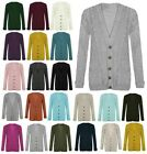 NEW LADIES WOMENS PLUS SIZE CHUNKY CABLE KNITTED BUTTON GRANDAD CARDIGANS