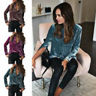 New Women Lady Long Sleeve Button Down Shirt Loose Cotton Velvet Pockets Blouse