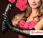 BRAND NEW! Black Long Leather Opera Gloves with Leather Button on the wrist!