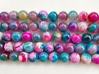 ukcheapest-15.5''multi-coloured Agate round 8-14 gemstone beads pinkblue orange