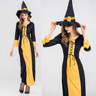 Women Halloween Party Props Cosplay Witch Dress Adult Halloween Costume+Hat