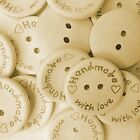 'Handmade With Love' Wood Buttons 15mm 20mm 25mm  - Crafts - Sewing - UK Seller!