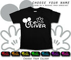 Disney Font Mickey Hands Any Name Personalised Black Cotton T-shirt School Gift