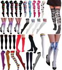 Women Over the Knee Stripe Socks Ladies Fancy Dress Checked OTK Socks Accessory