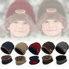 2pcs Kids Warm Knitted Hat + Scarf Warm Fleece Lined Winter Outdoor For Boy Girl