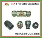 IP67 Waterproof 3 way Cable Extender Connector 15A 20A AC / DC Garden Lighting