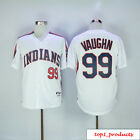Mens Cleveland INDIANS 99 Rick VAUGHN Wild Thing Sewn On Jersey White M 3XL