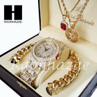 Iced Gold PT Simulated Diamond Pave Watch Ruby QC Chain Cuban Bracelet Set O image