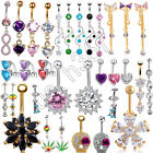 Women's Crystal Surgical Steel Dangle Navel Belly Ring Bar Body Piercing Jewelry image