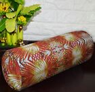 af254g Red Orange Lime FLower Cotton Canvas Yoga Bolster Cushion Cover Customize