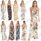 New Ladies Strapless Tropical Floral Print Sheering Gathered Boobtube Maxi Dress