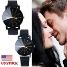 US Mens Womens Stainless Steel Faux Watch Quartz Dial Fashion Couple Wrist Watch