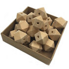 30Pcs Natural Unfinished Geometric Wood Beads Baby Teething Hexagon Beads DIY