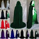 Womens Hooded Men Gothic Cloak Witch Robe Cape Halloween Prop Cosplay Costume